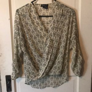 Black and cream damask blouse